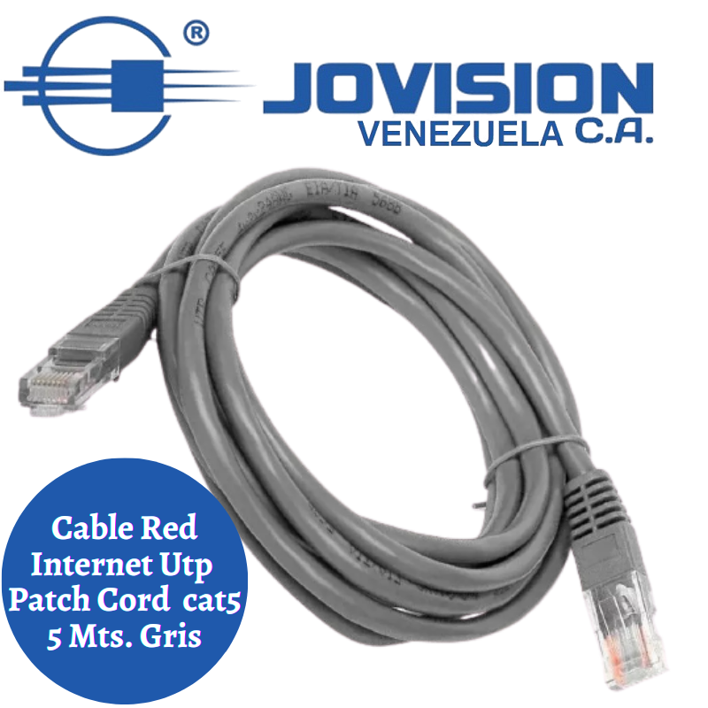 Cable Red Internet Utp Cat5 Patch Cord 5 Metros Gris-Certificado